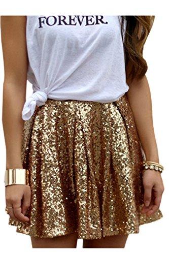 Damen Pailletten Röcke Gefalteten Swing Ausgestellte Goldene Party Shiny Minirock Skirt Golden M