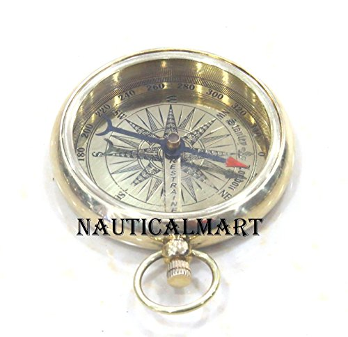 Vintage Titanic Lid Brass Pocket Compass - By Nauticalmart