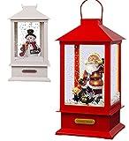 The Magic Toy Shop - Lanterna Natalizia con 8 Canzoni, Babbo Natale, Pupazzo di Neve con Luce Musicale e Neve