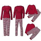 Riou Weihnachten Familie Pyjamas Set Deer Gedruckt Nachtwäsche Schlafanzug Homewear für Kinder Mama Dad Baby Kleidung Set Kinder Pullover Weihnachten Outfits (XL, Mom)