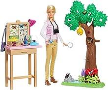 Barbie- Carriere Entomologa Bambola Bionda con Playset e 20 Accessori, Ispirata a National Geographic, Giocattolo per Bambini 3 + Anni, Multicolore, GDM49