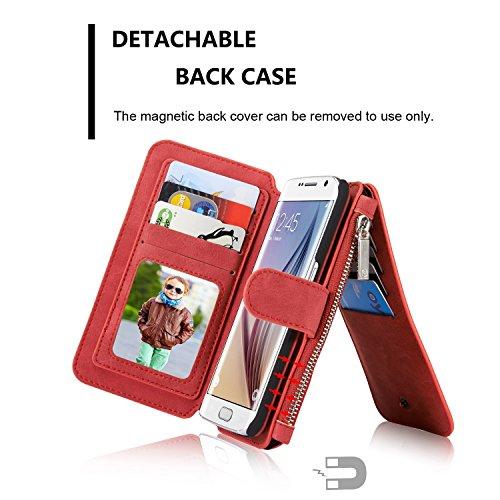 CaseMe® Étui portefeuille en cuir véritable pour Samsung S7 avec housse amovible, porte-monnaie zippé, porte-cartes et bouton-pression aimanté rouge