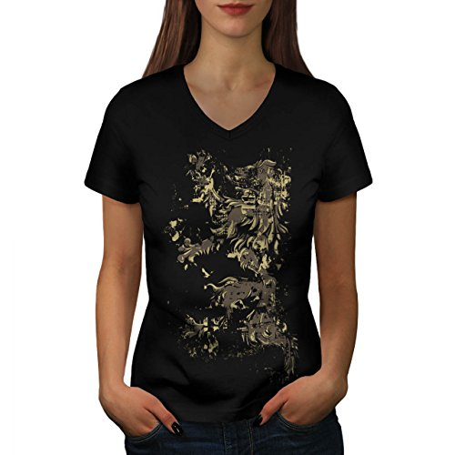 lion-rampant-flag-scotland-life-women-new-black-l-v-neck-t-shirt-wellcoda
