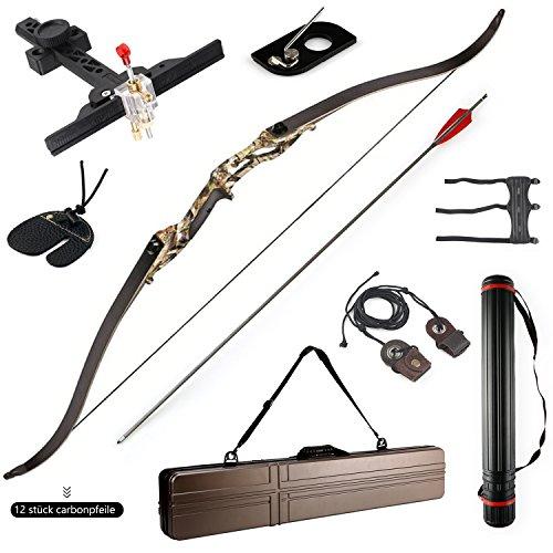 Recurve Bogen Set Hellbow 30 lbs und 50 lbs Bogenschießen Recurve Bogen amerikanischen Jagd Bögen für Pfeile Sportbildung 50 LBS inkl. Koffer (Tarn)
