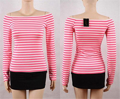 Frauen weg vom Schulter T Shirts Top Cotton Casual T Shirt Oberseiten Bluse Rose weisse Balken