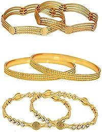 Zeneme Golden Plated Bangle Set For Women - Pack Of 06…
