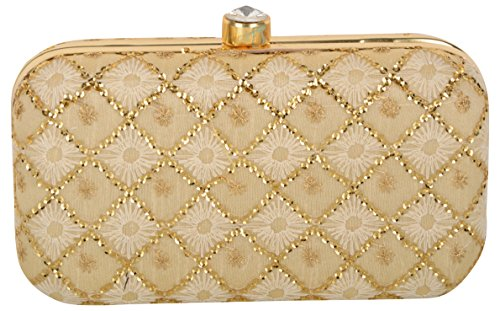Tooba Women's Light Gold Velvet Handicraft Hand Embroidered Box Clutch