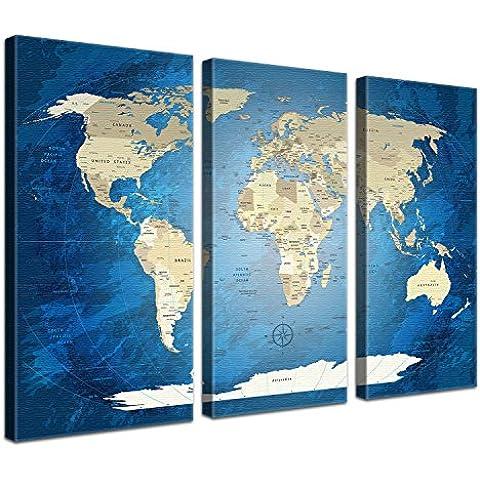 LanaKK® - mapamundi Blue Ocean - versión en Inglés, reproducción artística sobre lienzo premium en bastidor, tamaño con bastidor tensado 150 x 100 cm,  en tres