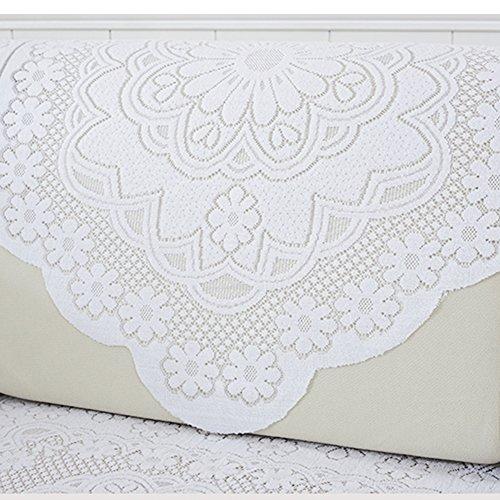 Yazi 4 pcs Dos Dentelle Écharpe Bras de canapé Housses Serviette Blanc Prune Fleur pour Home Decor 73 x 90 cm