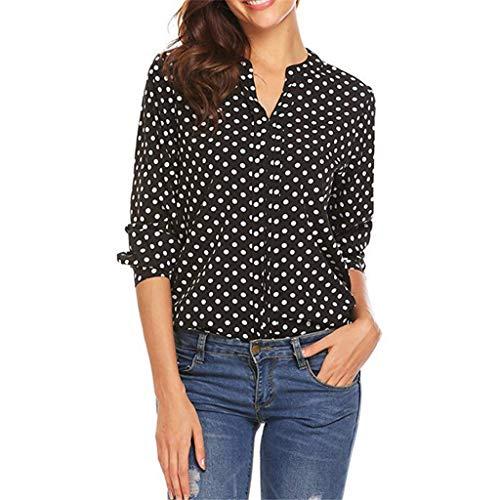 BURFLY Mode Damen Oberteile, Frauen Polka Dot 3/4 Ärmel Einfach Bluse Casual Büroarbeit V-Ausschnitt T-Shirt Tops -