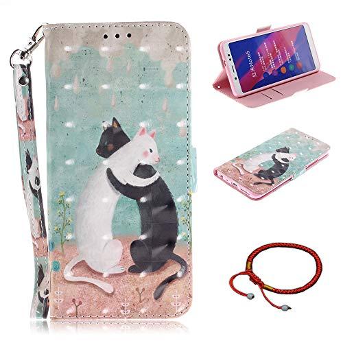 GOCDLJ Funda para Xiaomi Redmi Note 5 Funda de Cuero de la PU 3D Caso de Flip Carcasa Case Teléfono Inteligente Caso Purse Pouch con Lanyard Strap Diseño Gato Negro y Gato Blanco