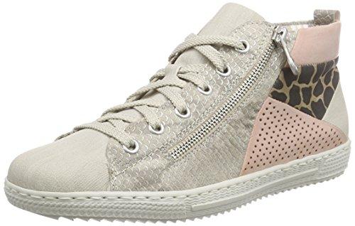 Rieker L9446, Sneakers Hautes Femme Beige (crema/hay/rose/braun-schwarz / 60)