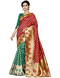 J B Fashion Women's Silk Red,green Saree With Blouse Piece