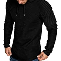 LITTHING Men's Slim Solid Color Hooded Long-Sleeve, Stripe Frill Ruffled Sleeve with Cap,Casual Tops Jacket