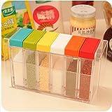 Buyerzone 6 Grids in 1 Set Transparent Plastic Seasoning Box Spices Case