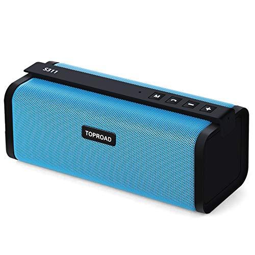 Bluetooth-Lautsprecher Tragbare 10 Watt Bluetooth Lautsprecher Hifi Wireless Stereo Big Power Soundbox Subwoofer Säulenlautsprecher Unterstützung Tf Fm Radio Aux, Blau Dual-10 Subwoofer-box