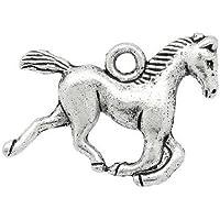 Charming Beads Tibetano Cavallo Ciondolo/Pendente Argento Antico 19mm Pacco di 10