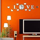 rybyte (TM) DIY efecto Espejo pared Sticke conjunto amor de vinilo con reloj decoración plata decoración del hogar Adesivo De Parede pegatinas