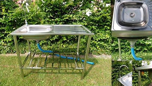 Spültisch Edelstahl Campingküche Waschtisch Schlauchanschluß mobiles Spülbecken