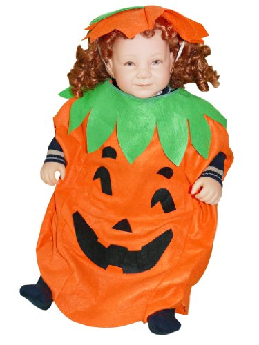 AN01 Kürbis Kostüm Größe 86-92 für Halloween, Halloweenkostüm mit Kopfschmuck