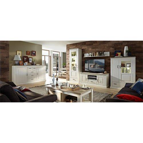 Wohnzimmerschrank, Wohnwand, Schrankwand, Anbauwand, Fernsehwand, Wohnzimmerschrankwand, Wohnschrank, Pinie, taupe, Beleuchtung, Soft-Close - 2