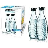 SodaStream DuoPack Glaskaraffe (2 x 0,6L) spülmaschinenfest mit fest schließendem Deckel für Wassersprudler wie Crystal oder Penguin!