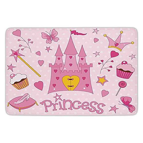 Bathroom Bath Rug Kitchen Floor Mat Carpet,Kids,Little Princess Tiara Slippers Fairy Castle Butterfly Heart Lollipop Wand Cupcake Girls Party Print Decorative,Flannel Microfiber Non-slip Soft Absorbe