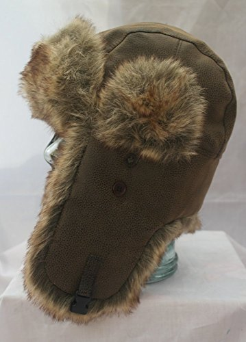 Classic Russian style leather look Ushanka Trapper hat Sz 60