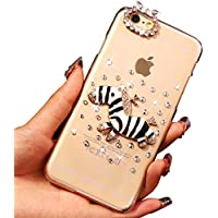 Sunroyal® Ultra Sottile Bling Duro Back Custodia per Apple iphone 6 iphone 6S (4.7 pollici), 3D Transparente Chiaro Glitter Diamanti Case Cover Posteriore Telefono Protector, Nero zebra