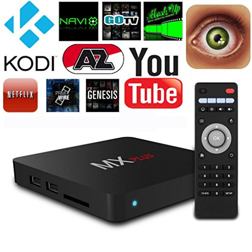 SO-buts MX Plus AMSLogic S905 Maximale Android TV-Box, 1080p HD, HDMI2.0 3D MICARCAST Satelliten WFI 7 Linie Android 5.1-Player, WI-Fi, Smart-TV-Box, WLAN-Router, Satelliten-TV-Empfänger (Schwarz)