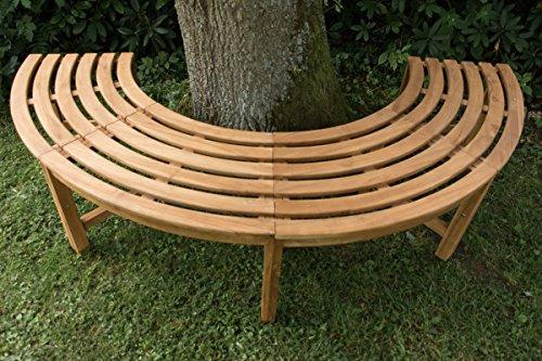 CLP 180° Teak Baum-Bank MALE, halbrund Ø ca. 115 cm / 200 cm (innen/außen), Teakholz, massiv, ohne Rückenlehne Braun