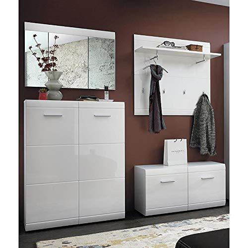 Lomadox Garderoben-Set in Hochglanz weiß inkl. Garderobenspiegel - Breite: 209cm