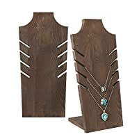 Set of 2 Natural Wood Multiple Necklace Bust Display Stand, Brown - Holds up to 5 Necklaces