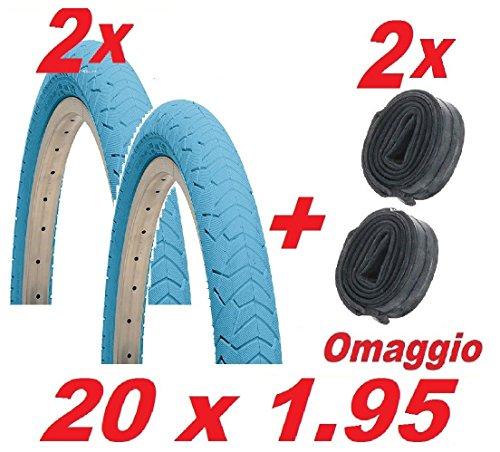 2x Reifen + 2Luftkammern Fahrrad BMX Größe 20x 1.95/Farbe hellblau - Rot-bmx-fahrrad-reifen