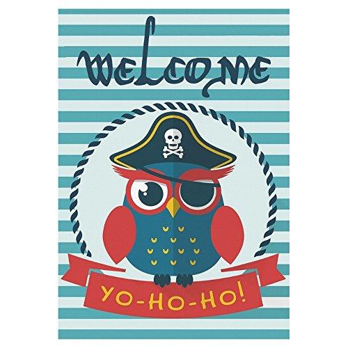 interestprint Pretty Sailor QWL Pirat Welcome Lange Polyester Garten Flagge Banner 71,1x 101,6cm, Nautical Navy Fahne Deko Streifen für Hochzeitstag/für Home Outdoor Garden Decor, Polyester, multi, 28x40