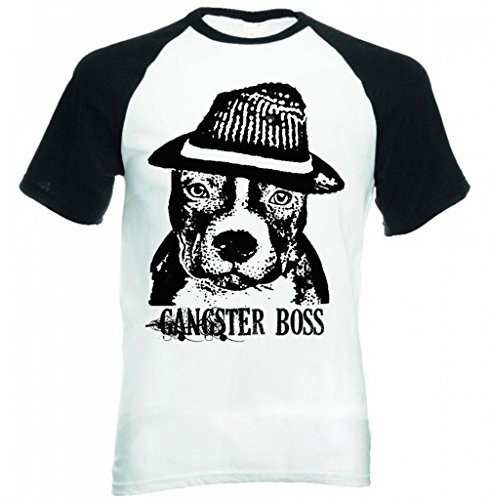 Teesquare1st Men's AMERICAN PITBULL TERRIER GANGSTER BOSS B Black short Sleeved T-Shirt Size Medium