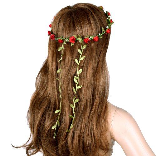 TOOGOO(R) Bohemien Dames Floral Fleur Festival Mariage Guirlande Front Cheveux Bandeau - Rouge