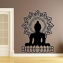 jiuyaomai Creative Bouddha Mandala Lotus Autocollant Mural Autocollant en Vinyle Étanche Stickers Muraux Décoration de La Maison Accessoires Papier Peint 8 58 cm X 76 cm