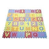 36 pcs Puzzle Spielmatte Alphabet Nummer EVA Matte Baby Kinder Kriechende Spielzeug Schaum Tiere Geduldsspiel Kinderteppich - Maße Einzelmatte : 16cm x 16cm