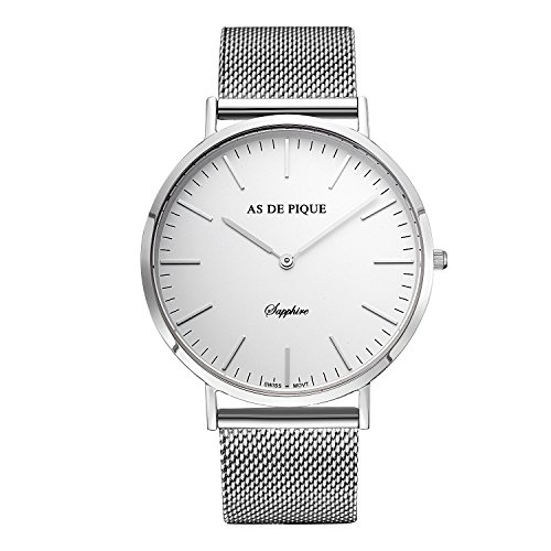 AS DE PIQUE Classic Luxus Armbanduhr Schweizer Uhrwerk Saphirglas Edelstahl silber mesh