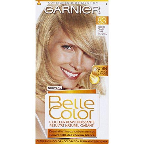 garnier belle color crme facil color blond clair dor naturel 83 coloration permanente lhuile de jojoba et de germe de bl la bote 115ml - Belle Color Blond Naturel