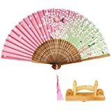 Homyl Floral Chinese Silk Bamboo Folding Hand Fan With Wood Fan Hold Display Stand