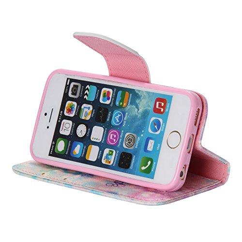 PU für Apple iPhone 5 5S SE Hülle,Geprägte Handyhülle / Tasche / Cover / Case für das Apple iPhone 5 5S SE PU Leder Flip Cover Leder Hülle Kunstleder Folio Schutzhülle Wallet Tasche Etui Standfunktion 5