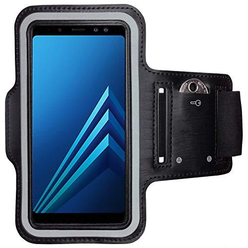 CoverKingz Samsung Galaxy A8 (2018) Sportarmband Fitness-Hülle Schwarz Jogging-Case mit Schlüsselfach Handy-Lauf-Tasche Handy-Tasche Sport Fitness-Armband