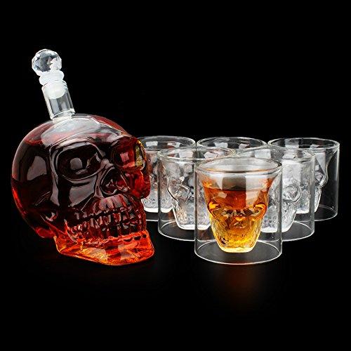 Decdeal Schädel Schnapsgläser Set Wodka Totenkopf Flasche 700ml mit 6 Schädel Gläser 75ml