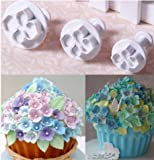 New 3Pcs/Set Fondant Cake Decorating Plunger Sugarcraft Cutter Mold Tools Bakeware Tools