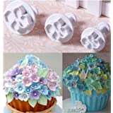 New 3Pcs/Set Fondant Cake Decorating Plunger Sugarcraft Cutter Mold Tools Bakeware Tools