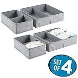 mDesign Set da 4 contenitori per cassetti ? Comode scatole portaoggetti ideali per ogni cassetto in casa ? Perfetti organizer per ogni tipo di accessorio ? Grigio