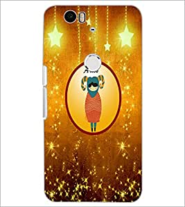 PrintDhaba Zodiac Aries D-3753 Back Case Cover for HUAWEI NEXUS 6P (Multi-Coloured)