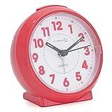U-needQ Quarz Analog kein Ticken Reisewecker Tischuhr Wecker mit Nachtlicht, Schlummerfunktion, geräuschlos, Batteriebetrieben (Pink, glänzend)